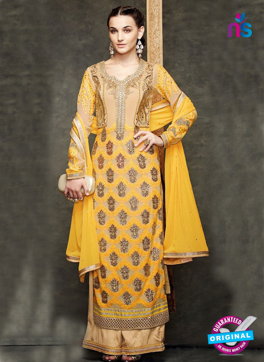 Kimora 1411 Yellow and Brown Georgette Party Wear Straight Suit