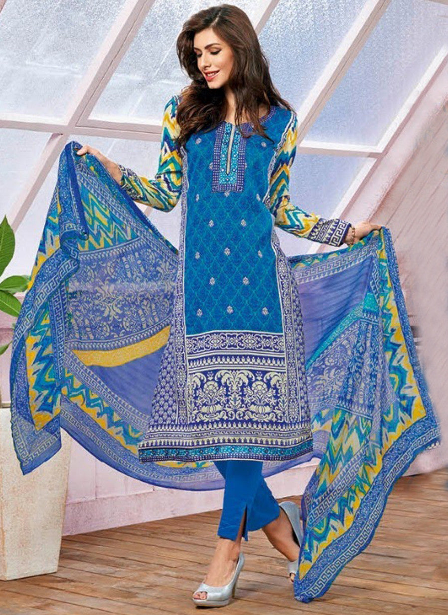 Kalakirti 1412 Blue Color Glace Cotton Designer Suit