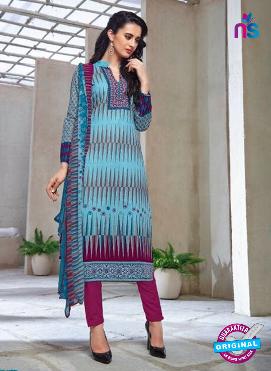 Kalakirti 1412 Purple and Blue Cotton Party Wear Suit