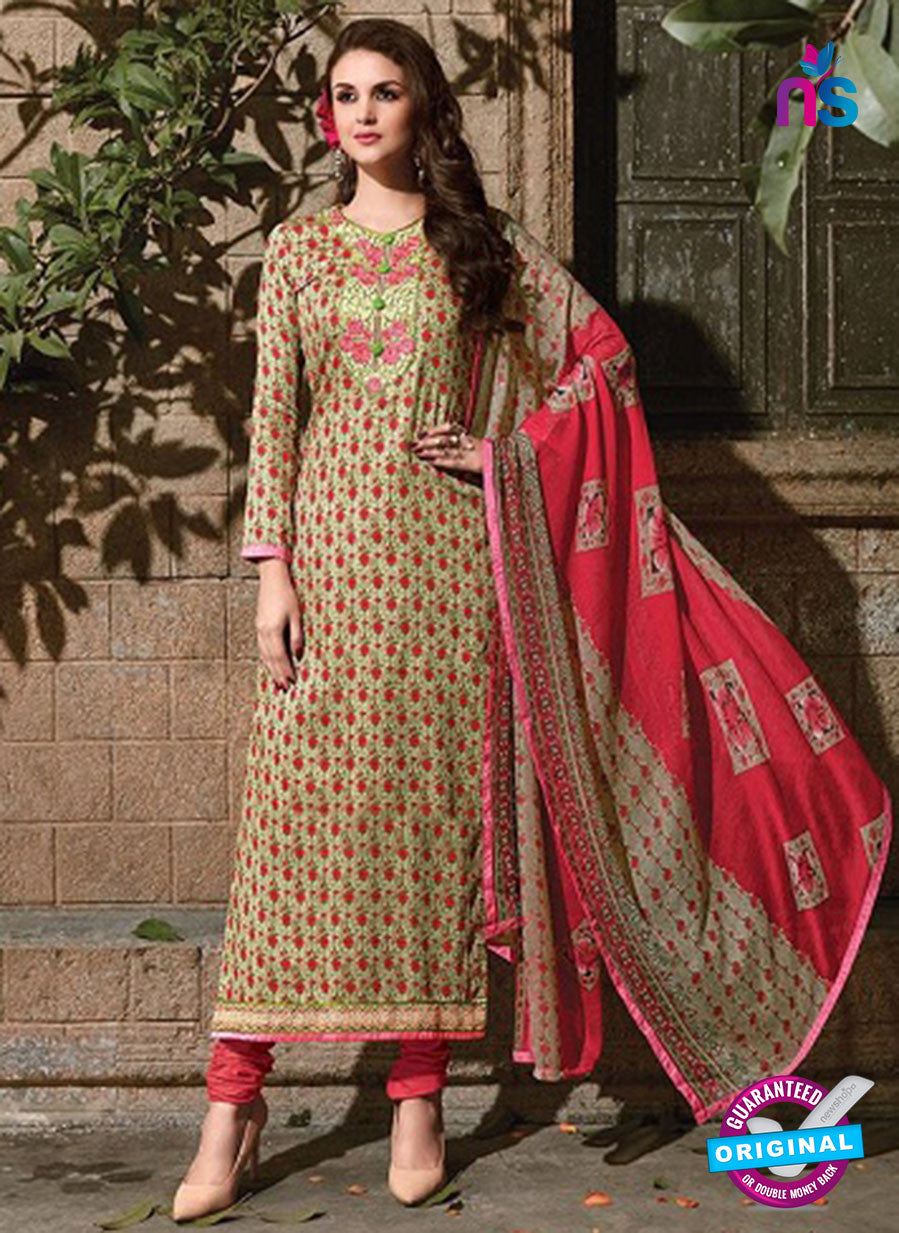 SC 14086 Green and Red Satin Cotton Exclusive Fancy Designer Straight Suit