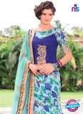 AZ 1097 Sky Blue and Blue Silk Print Bhagalpuri Lehenga Choli - Lehengas - NEW SHOP