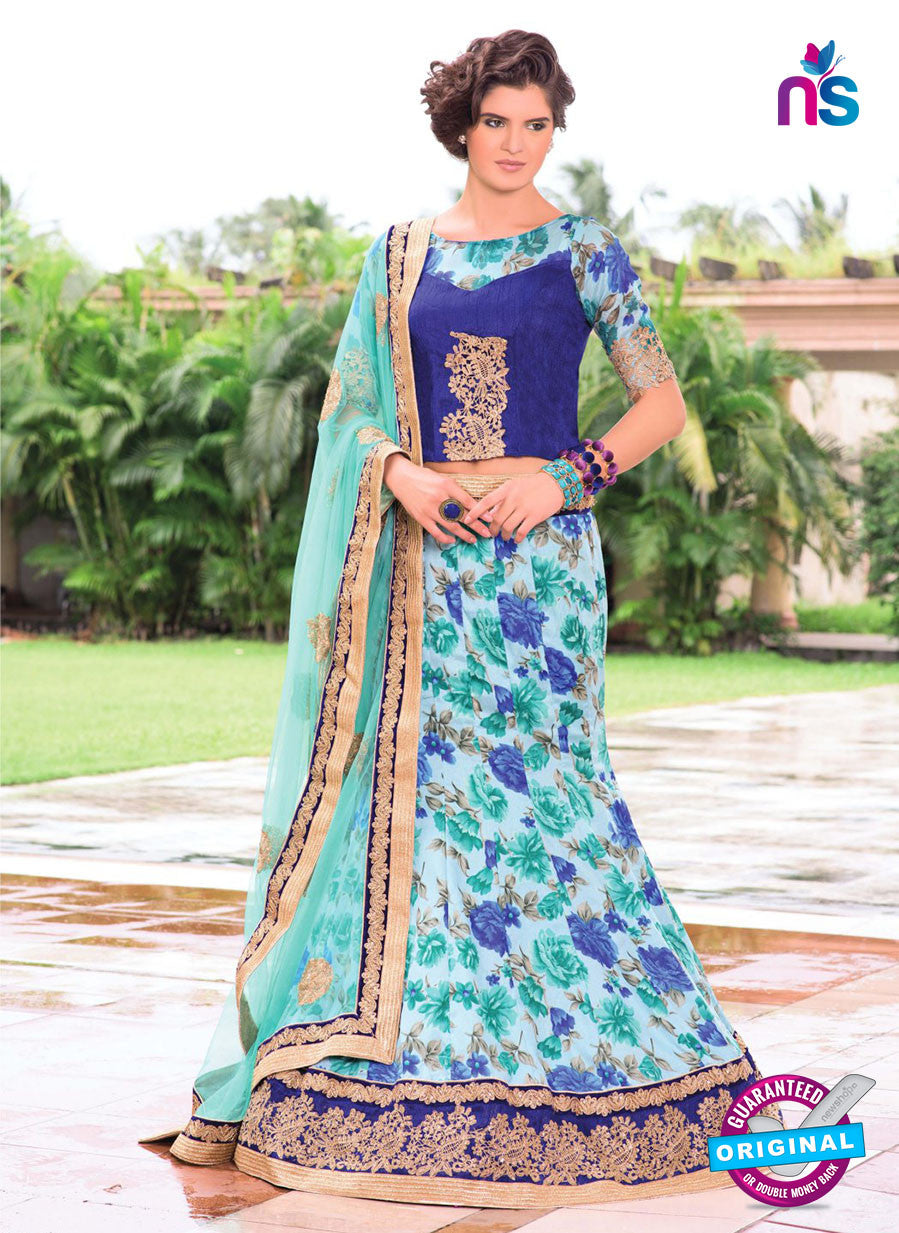 AZ 1097 Sky Blue and Blue Silk Print Bhagalpuri Lehenga Choli