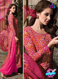 SC 14089 Orange and Pink Satin Cotton Exclusive Fancy Designer Straight Suit