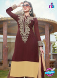 NS10258 Brown and Beige Party Wear Suit Georgette Plazzo Suit