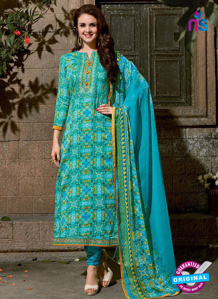 SC 14091 Sky Blue and Sea Green  Exclusive Fancy Designer Straight Suit