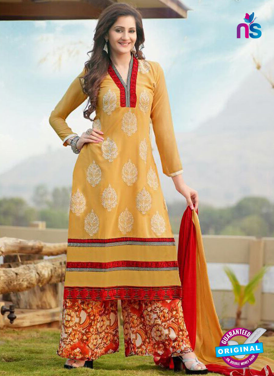 NS10259 Yellow and Multicolor Party Wear Suit Georgette Plazzo Suit