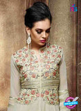 NS10070 Grey Wedding Wear Embroidered Georgette and Net Designer Suit