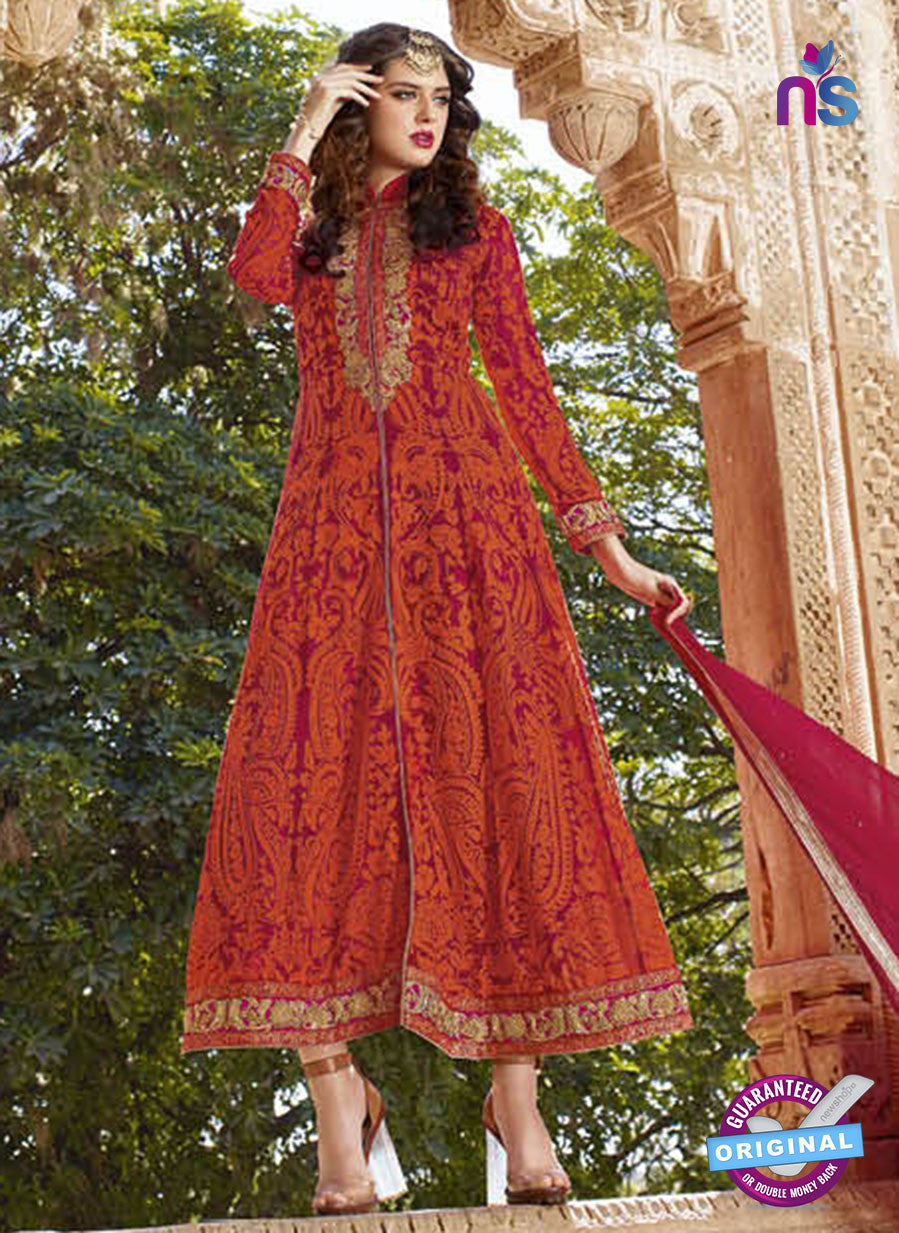 AZ 2364 Orange Embroidered Georgette Party Wear Suit
