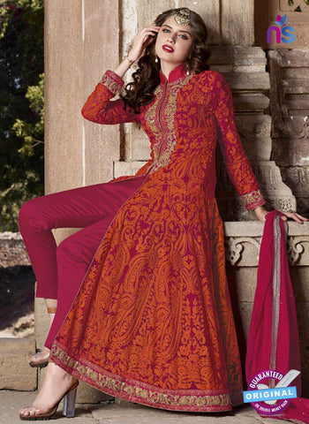 AZ 2364 Orange Embroidered Georgette Party Wear Suit - Salwar Suits - NEW SHOP