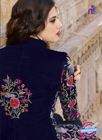 AZ 2367 Blue Embroidered Satin Party Wear Suit Online