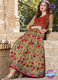 AZ 2368 Red and Beige Embroidered Silk Fancy Anarkali Suit - Anarkali Suits - NEW SHOP
