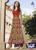 AZ 2368 Red and Beige Embroidered Silk Fancy Anarkali Suit