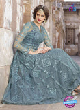 AZ 2369 Grey Embroidered Net Indo Western Suit - Salwar Suits - NEW SHOP
