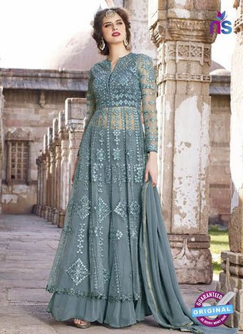 AZ 2369 Sky Blue Embroidered Net Indo Western Suit