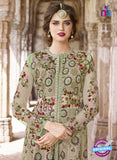 AZ 2370 Beige and Green Embroidered Net Indo Western Suit Online