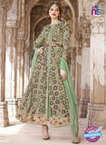 AZ 2370 Beige and Green Embroidered Net Indo Western Suit