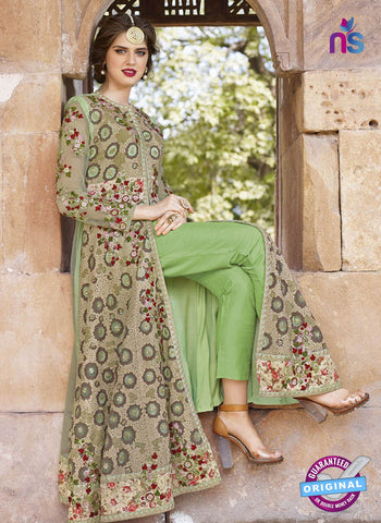 AZ 2370 Beige and Green Embroidered Net Indo Western Suit - Salwar Suits - NEW SHOP
