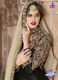 AZ 2371 Beige and black Embroidered Silk Party Wear Suit Online Shopping
