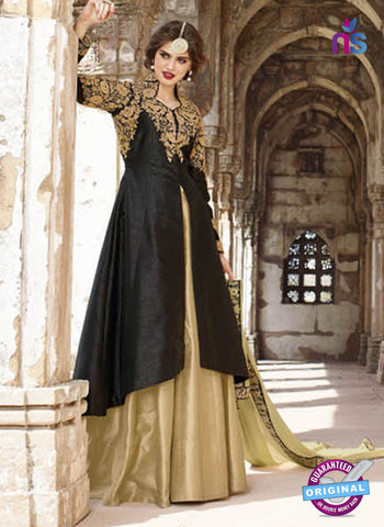 AZ 2371 Beige and black Embroidered Silk Party Wear Suit