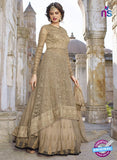 AZ 2372 Beige Embroidered Net Fancy Anarkali Suit