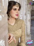 AZ 2372 Beige Embroidered Net Fancy Anarkali Suit - Anarkali Suits - NEW SHOP
