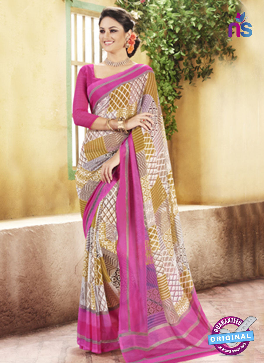 NS11927  Pink and Brown Chiffon Saree