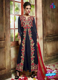 NS10071 Blue Wedding Wear Embroidered Georgette Designer Suit