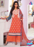 Rivaa14704A Orange & Green Color Cotton Designer Suit