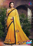 SC 12328 Yellow and Blue Designer Georgette Saree