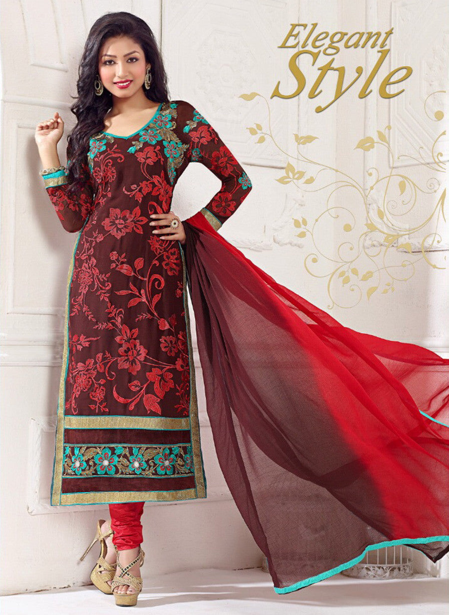 NS11791  Maroon and Red Georgette Straight Suit