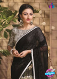 NS10047 Black and Beige Party Wear Designer Saree