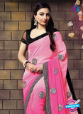 SC 12330 Pink and Black Designer Georgette Saree