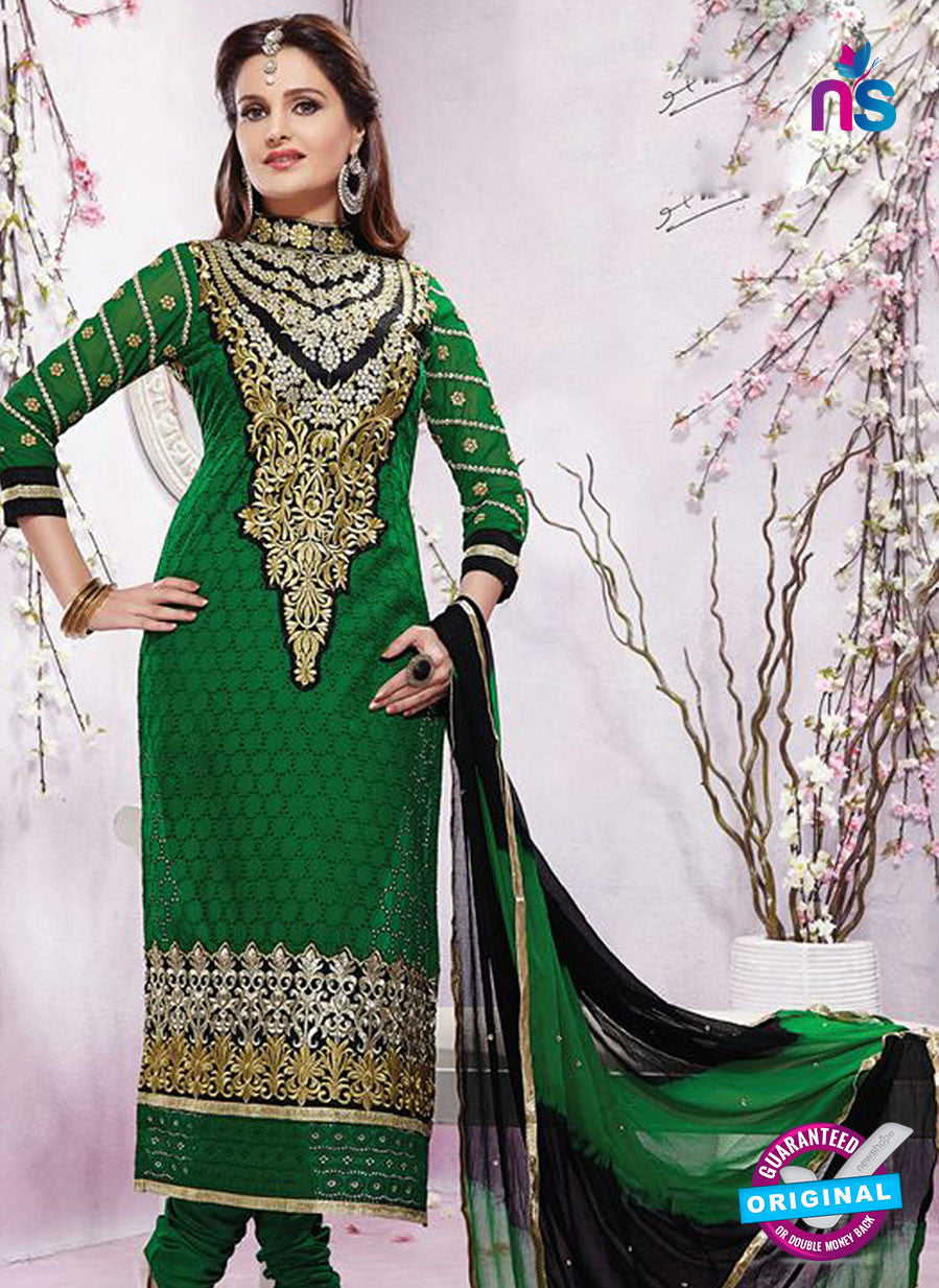 NS12205 Green and Black Straight Suit
