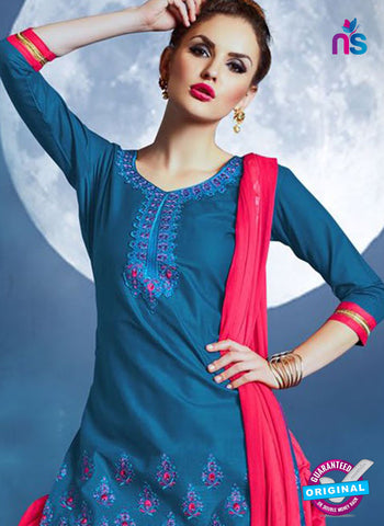 Meghali 14 Sky Blue Cotton Patiala Suit