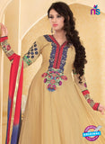 NS10936 Beige and Red Georgette Anarkali Suit