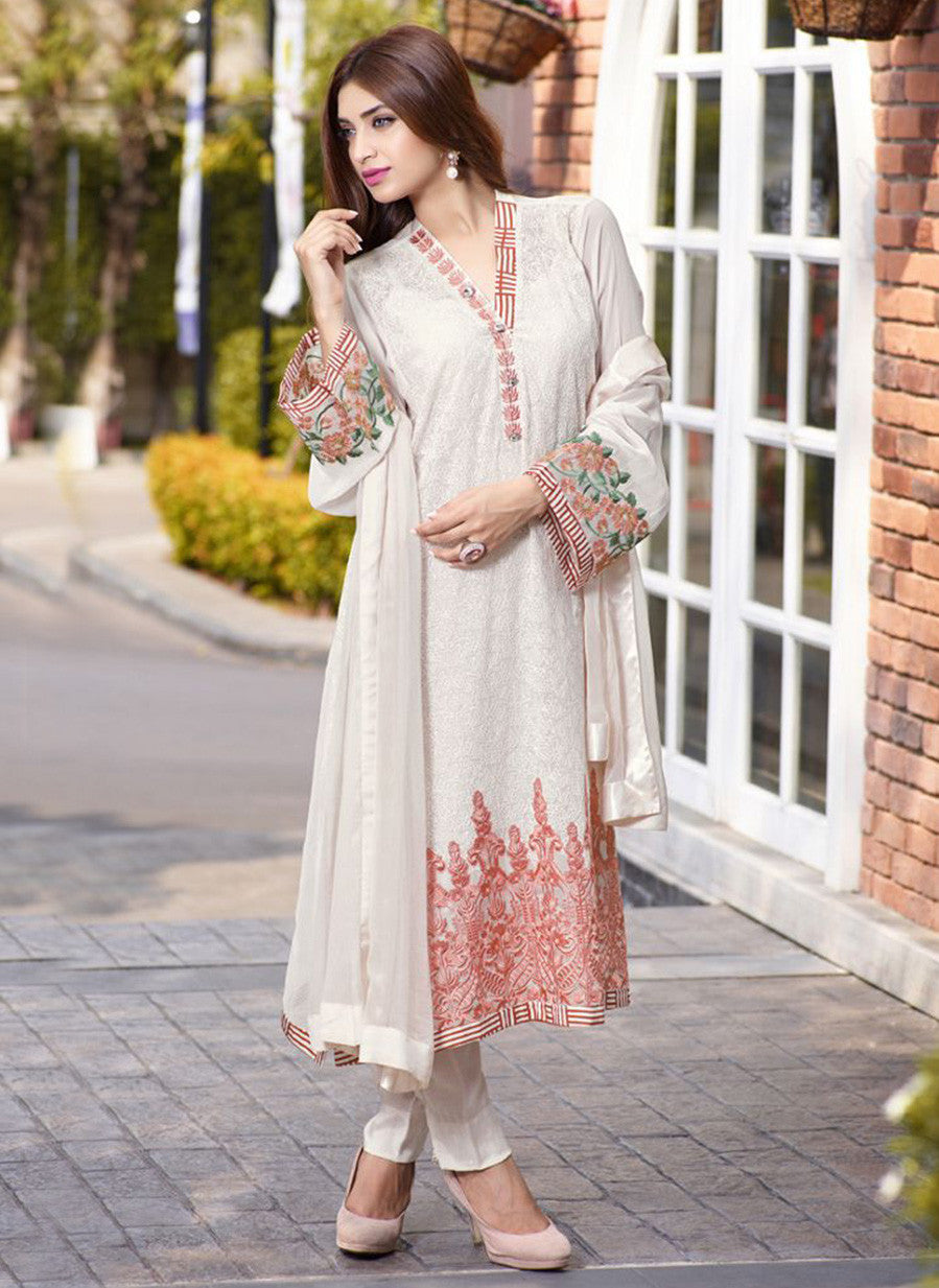 TM 15  White Color Georgette Designer Suit