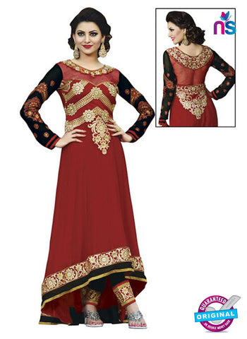 NS 12427 Maroon and Black Embroidered Georgette Party Wear Anarkali Suit