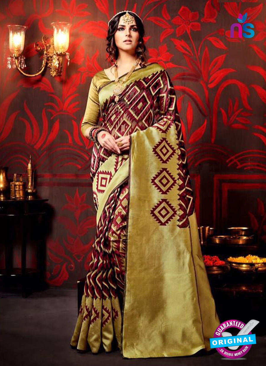AZ 3628 Mehandi Green and Maroon Cotton Silk Formal Saree
