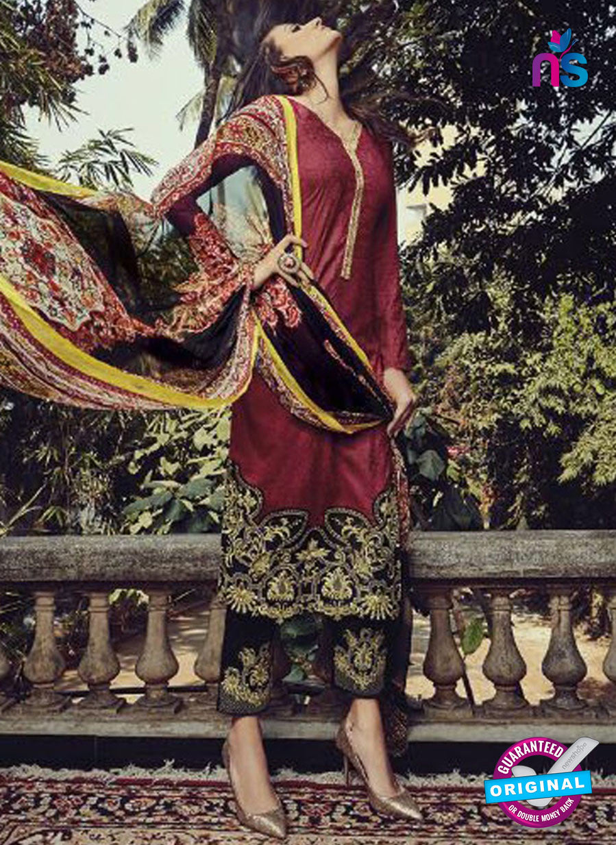 NS10199 Maroon and Black Party Wear Glace Cotton Jacquard Pakistani Suit