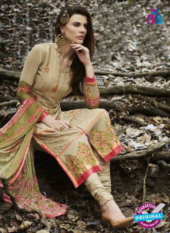 Bellisa 15001 Beige and Multicolor Faux Georgette Party Wear Suit Online