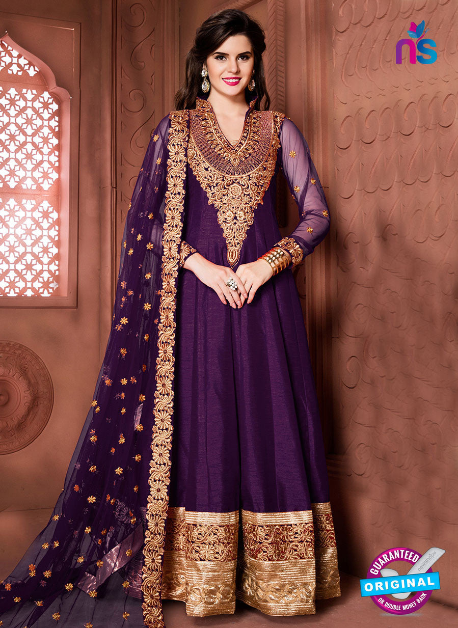 Aanaya 15002 Purple Banglori Silk Party Wear Anarkali Suit
