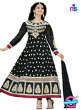 NS 12426 Black and White Embroidered Georgette Party Wear Anarkali Suit