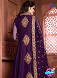 purple silk party wear anarkali suit