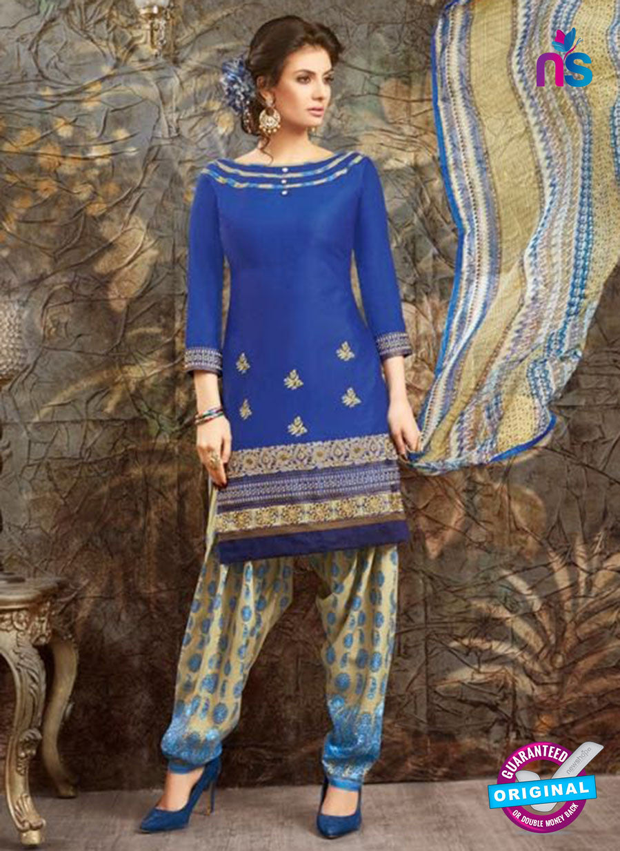 SC 13844 Blue Glace Cotton Designer Fancy Exclusive Patiala Suit