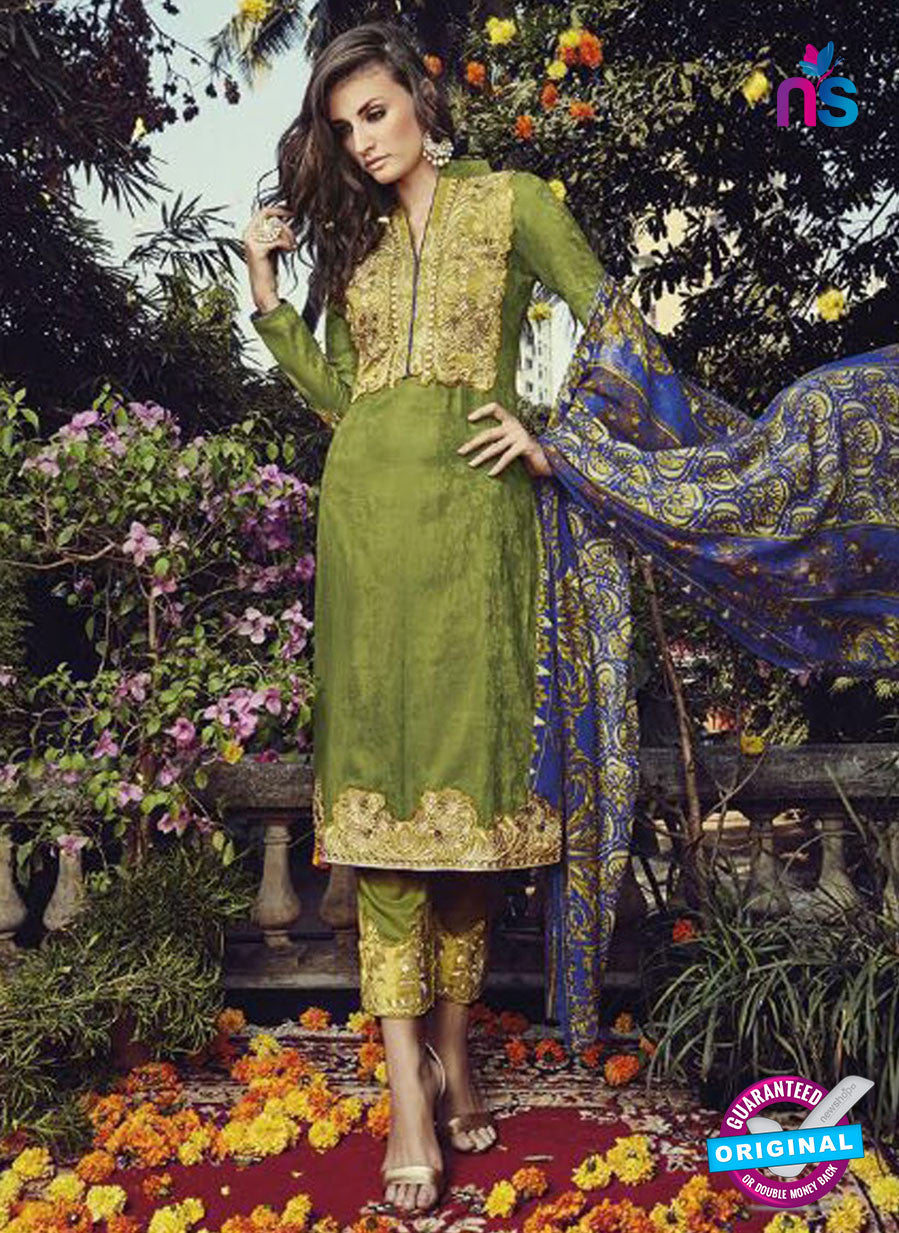 NS10201 Green and Beige Party Wear Glace Cotton Jacquard Pakistani Suit
