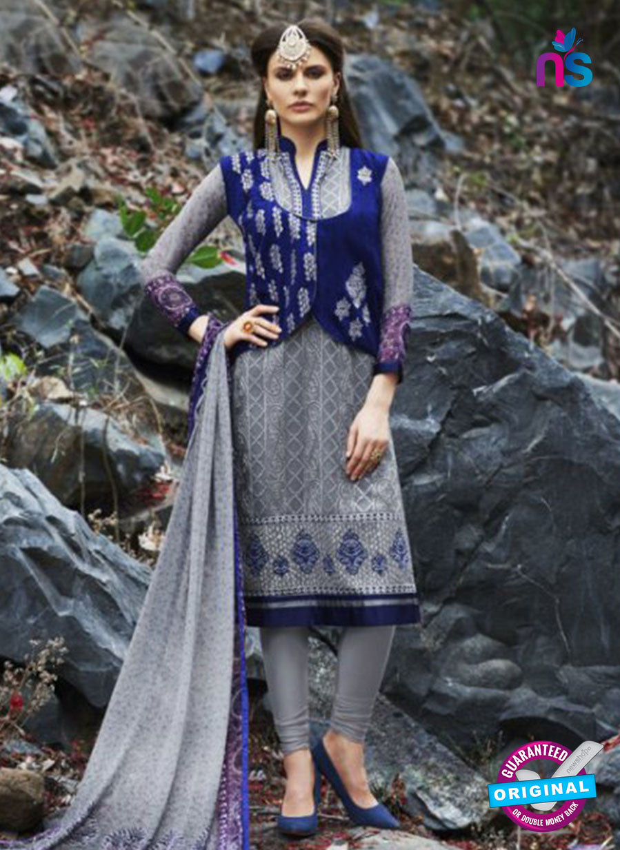 AZ 1065 Grey and Blue Faux Georgette Party Wear Suit