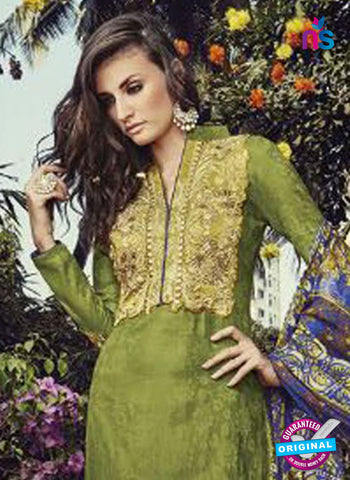 NS10201 Green and Beige Party Wear Glace Cotton Jacquard Pakistani Suit Online