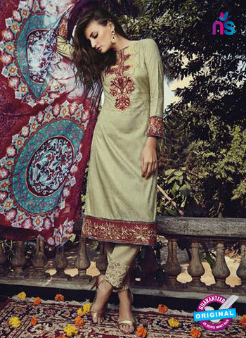NS10202 Green and Maroon Party Wear Glace Cotton Jacquard Pakistani Suit