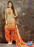 SC 13846 Beige and Orange Glace Cotton Designer Fancy Exclusive Patiala Suit