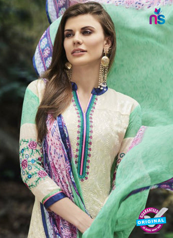 Bellisa 15004 Beige and Green Faux Georgette Party Wear Suit Online